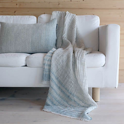 Kajos blanket, natural dyed stripes